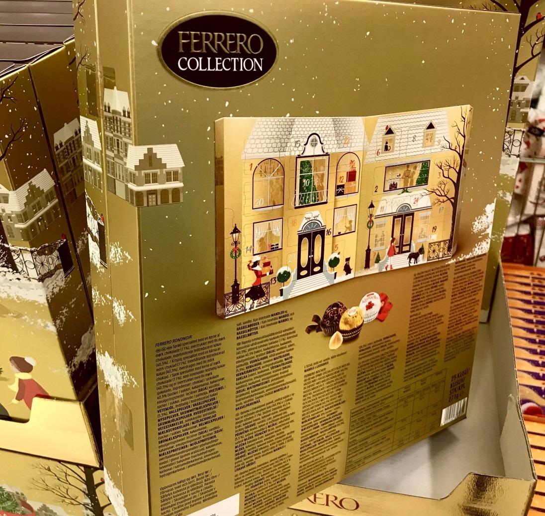 Baksida på Ferrero Rocher adventskalender